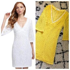 "Trina Turk ""The Trini"" Lace Crochet Yellow Dress"